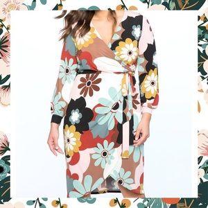 Eloquii Retro Floral Printed Wrap Dress with Tie